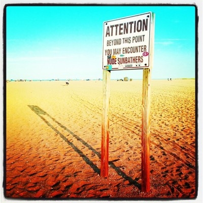 No Tan Lines #gunnison #gunnisonbeach #ny #nj #beach #shore #nudebeach #sign #clothingoptional #iphoneonly #4s #deluxefx @deluxefx #summer #summertime #hot (Taken with Instagram at Gunnison Beach, Sandy Hook, NJ)