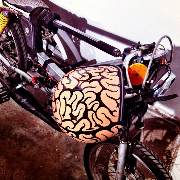 Custom Hand painted Brain Bucket By Bemorisee 1st of Series> For Sale Inquire via email