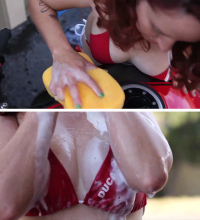 Babe of the week: Krystle Krystle washes her Ducati with love.