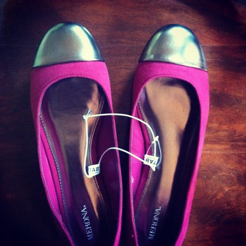 Clearance find at Target: Metallic and magenta flats for $7. Can't beat that…even if Myles insists on referring to them as my steel toed boots. (Taken with Instagram)
