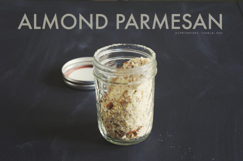pantry staple: almond parmesan this is something so, so easy to put together, but if you've never tried it it might seem hard to make. we make a batch once a month, keeping it in an airtight container, and it  adds a ton of flavor to most any dish we make. pour a cup of raw almonds, 1 tbsp nutritional yeast, 1-2 tsp kosher salt, and 1 tsp garlic powder into a ziploc bag. (alternatively, if you have a food processor, you can use that and skip to step four.) close the bag, and put it into another ziploc bag and close that. smash the almond mixture with a hammer until everything has a similar consistency, small granules. pour into an airtight container and store in the fridge. serve with hot pasta or on salads, or wherever else you'd use traditional parmesan.