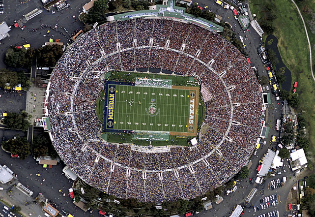 SI photographer Neil Leifer captures this amazing aerial view of the 2005 Rose Bowl between Michigan and Texas. The Longhorns won the game 38-37 on a late field goal by kicker Dusty Mangum. (Neil Leifer/SI)