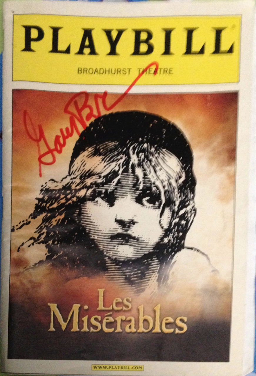 The Playbill for Les Misérables that Gary Beach signed for me.   He did a double take when I took it out because he hadn't seen one in so long haha.   Now I just have to get Celia Keenan-Bolger, Lea Solanga, Ali Ewoldt, Norm Lewis and Jenny Galloway to sign it too! Sounds like a mission….