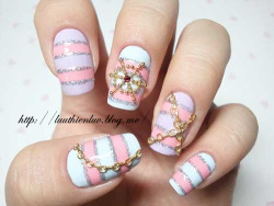 For inspiration: Barbie Sailor  aime-nails:  Pink and White Summer Sailor Nails