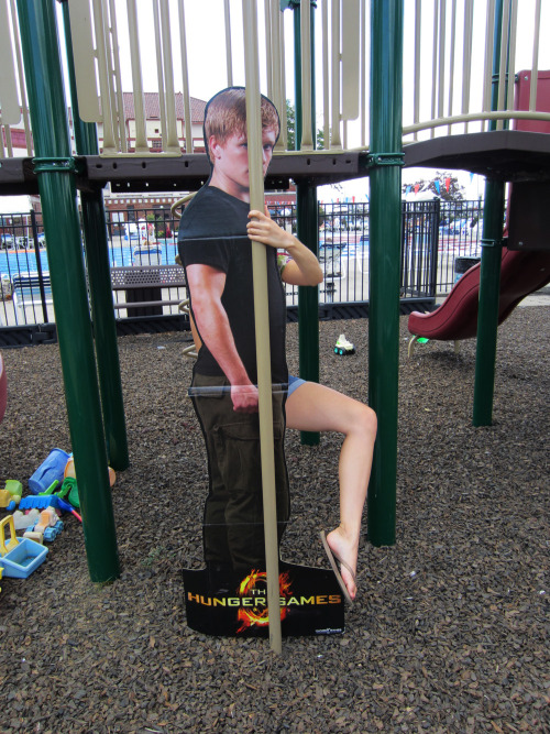 Peeta practices his pole dancing moves