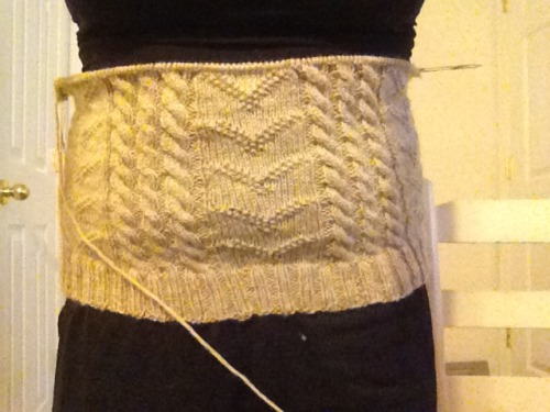 Five repeats done on my Amazing, Brilliant, Fantastic! Sweater.  And if it fits me, it'll fit my mom. So yeah.