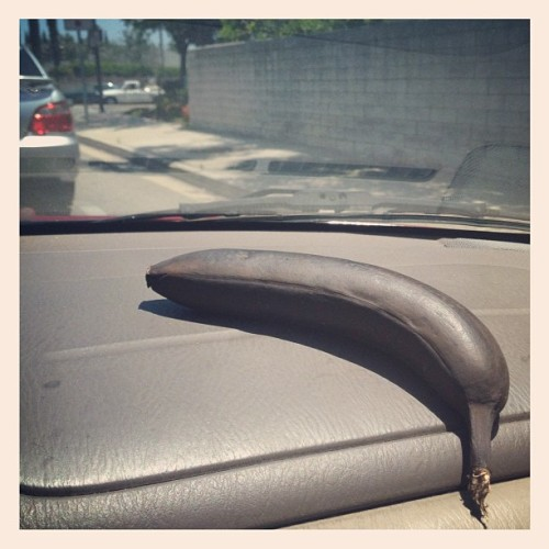 This is what happens when you leave a banana on the dash overnight in SoCal #condemned (Taken with Instagram)