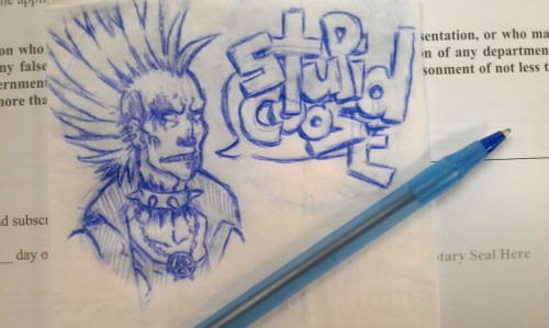 WAITIN TA GET MY FIRST LICENSE. DOODLED ZED ON A NAPKIN. STILL WAITIN.