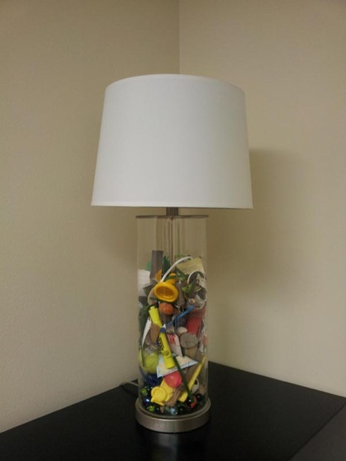 "What a neat idea! pumpkinlover:  ""This lamp has everything my mom ever found in my pockets when doing laundry for me when I was little. She gave it to me at my wedding."""