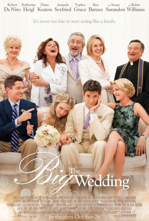 whatevs:  popculturebrain:  Poster: 'The Big Wedding' | ComingSoon There's a trailer through the link too, if this is the kind of thing you're into.  LOL at the old lady whose face made the poster but who's name didn't warrant going above the title.  Oh poor, Tony Award-winning Christine Ebersole…