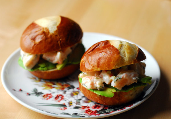easy shrimp and avocado sliders.