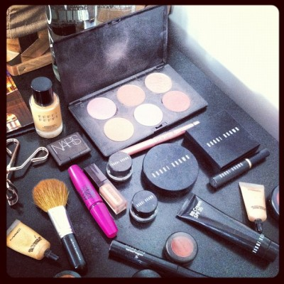 Playing in Michelle Money's makeup bag on set. Lots of Bobbi Brown! (Taken with Instagram)