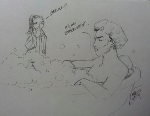 "Prompt: Sherlock/Molly; bathtime.  Do you understand that the saving grace of the Sherlock fandom is ""It's an experiment!""?   Sherlock secretly likes bubble baths. Because rubber duckie makes bathtime lots of fun."