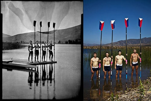 Crew. thedailywhat:  Inspiring Olympic Photos of the Day: The Los Angeles Times' Jay L. Clendenin was just one of many to photograph the U.S. Olympic team before its members headed to London. But he was the only one to shoot dueling portraits of the athletes, using both a modern digital camera, and a 4×5-inch field camera paired with a 100+-year-old Petzval lens. The resulting juxtaposition of old and new is pretty sick. Don't miss the rest of the series. [petapixel]