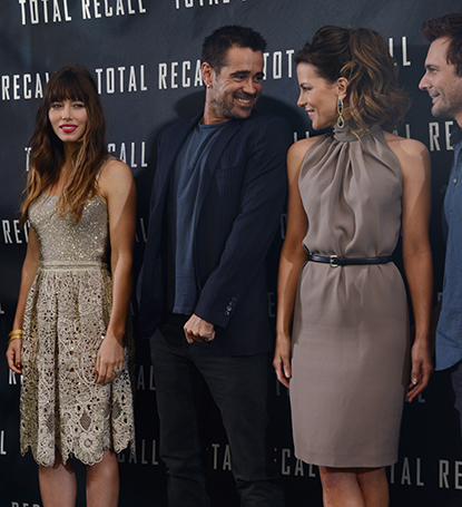 Actors Jessica Biel, Colin Farrell and Kate Beckinsale share a laugh during a photo call for their movie Total Recall at the Four Seasons Hotel, Los Angeles, California, July 28, 2012.