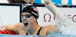 American Allison Schmitt reacts to her gold-medal victory. SCHMITT WINS 200 FREE; FRANKLIN 4TH