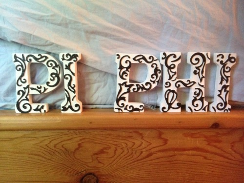 sororitycraft:  I got these white letters at Michael's Craft Store and found the decorative stickers there as well, I love love LOVE the designs! All I had to do was cut them to fit the letters. They have a lot of wonderful decorations there, like flowers and glittery letters, so I'm hoping to possibly do some more letter crafting for a future little. PPLAM <3