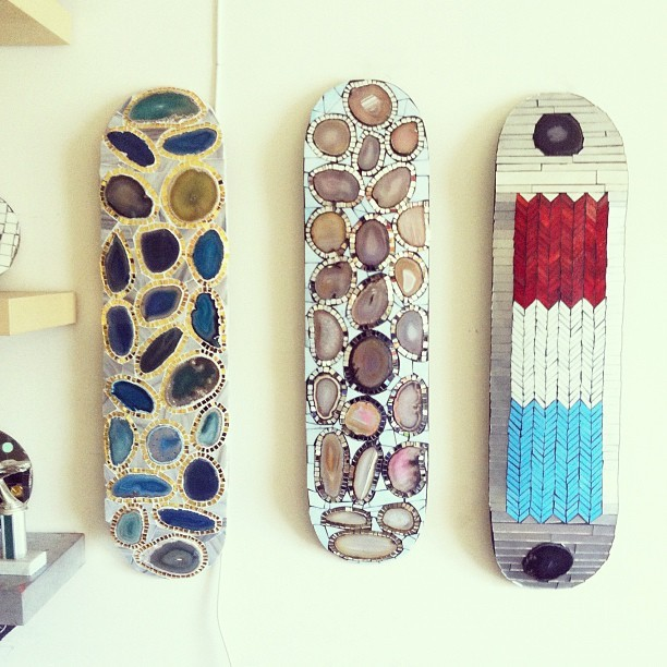 clubmonaco:  Mosaic skateboards by Brooklyn artist Kevin Newcomb.   Mosaic skateboards? SUPER COOL……