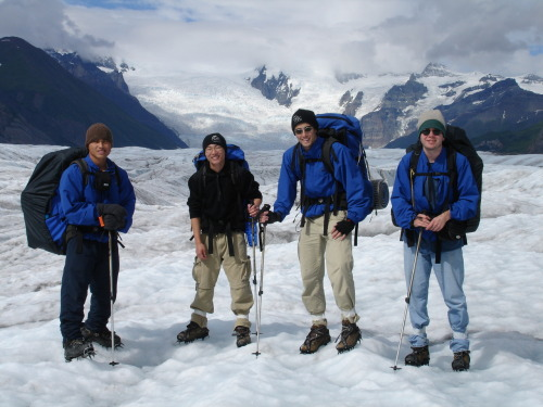 """Blue coats on a glacier"" photo courtesy UAF Outdoor Adventures"
