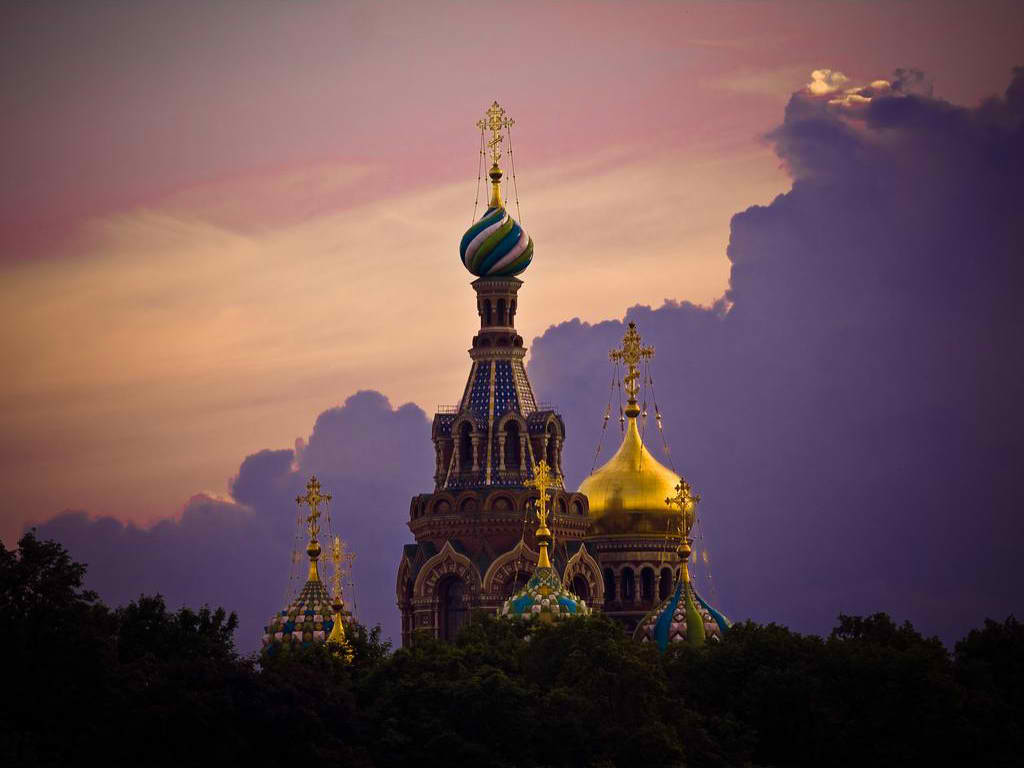 Cathedral of Christ on Spilt Blood. St. Petersburg, Russia  The beautiful domes of Russia.