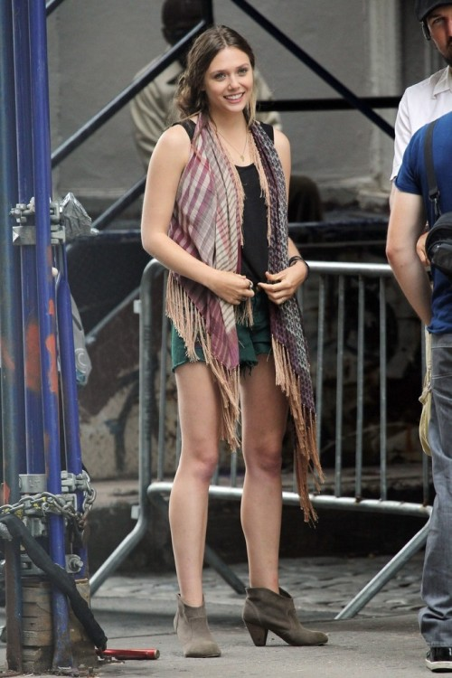 "Elizabeth Olsen on the Set of ""Very Good Girls"" in New York 07/30/12"
