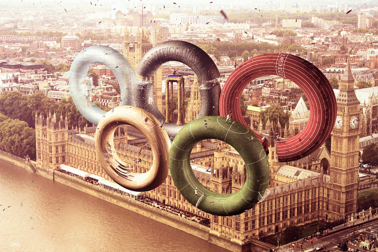 Great photoshop concept for the London 2012 Games. Olympic Games 2012 by Leonardo Dentico