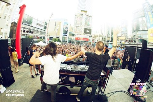 """A Mad Decent Time at Yonge-Dundas""  Check out the Toronto Mad Decent Block Party recap by Torontoist Also peep photos courtesy of @thesupermaniak and Embrace!"