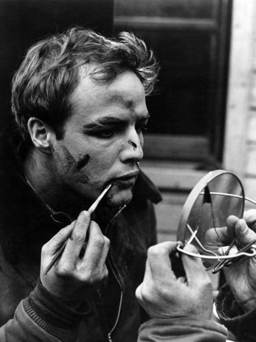 Marlon Brando applying his make-up on the set of On the Waterfront (Dir. Elia Kazan; 1954)