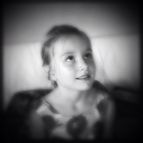 My girl looking at her daddy #hipstamatic #simplyblackandwhite #biglens #monochrome #portrait #blackandwhite #children  (Taken with Instagram)