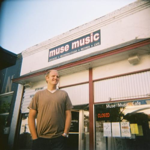 drewdanburry:  This is my friend Jake Haws at Muse Music Cafe. He used to own and run the cafe, the venue and the recording studio. Thankfully, this wonderful business/venue is still going here in the heart of Provo, Utah.  http://documentingwithfilm.blogspot.com/