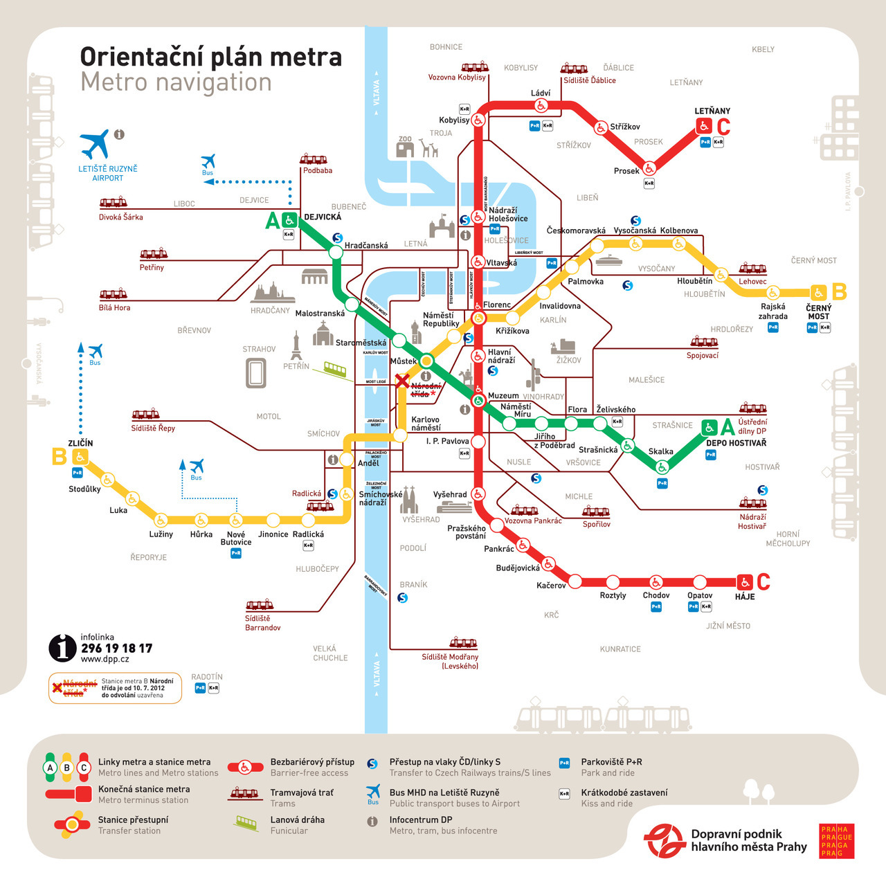 "Official Map: Prague Metro Orientation Map This is the first of three posts regarding current transit maps in Prague, the capital of the Czech Republic. All are part of a unified set of maps (all of which use the interesting framing device of stylised buildings and trams, which I can't decide if I think is playfully irreverent or just plain stupid) and provide interesting lessons on how much information is ""just right"" for a transit map to be really useful. This map is a simplified overview or orientation map of the Metro, and seems to serve a similar purpose to the Key Bus Routes of London Map that we've already featured - to provide a quick guide to public transport for visitors to the city. However, it's slightly less successful than that map, as we'll see below. Have we been there? Yes, in 2004. After one initial trip on the Metro from the railway station to the hostel, I used trams exclusively. What we like: Breezy and simple, bright and bold with a unique look. The little icons for major landmarks are quite charming. The Metro lines stand out really nicely, and interchanges are handled well. What we don't like: By comparison with the Metro lines, the tram lines come off very badly indeed. Without route numbers or anything other than final destinations shown, they're really not very useful in this version of the map other than an indication that tram service exists. After that, you're on your own… Our rating: A nice looking map with its own very distinct look - this map belongs to Prague. I'm still not sure about the cartoon-like framing device, but it is carried across all elements of the corporate identity (other maps, website, etc,), so at least they're consistent! Tram service information is a little light. Three-and-a-half stars.  (Source: Official DPP website)"