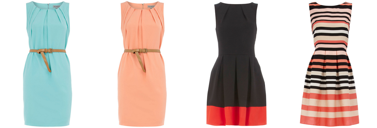 Dorothy Perkins dresses for $80 and below.  From Left To Right: Mint Sleeveless Belted Dress, Peach Sleevless Belted Dress, Dark Orange Contrast Dress, Pink Stripe Prom Dress.
