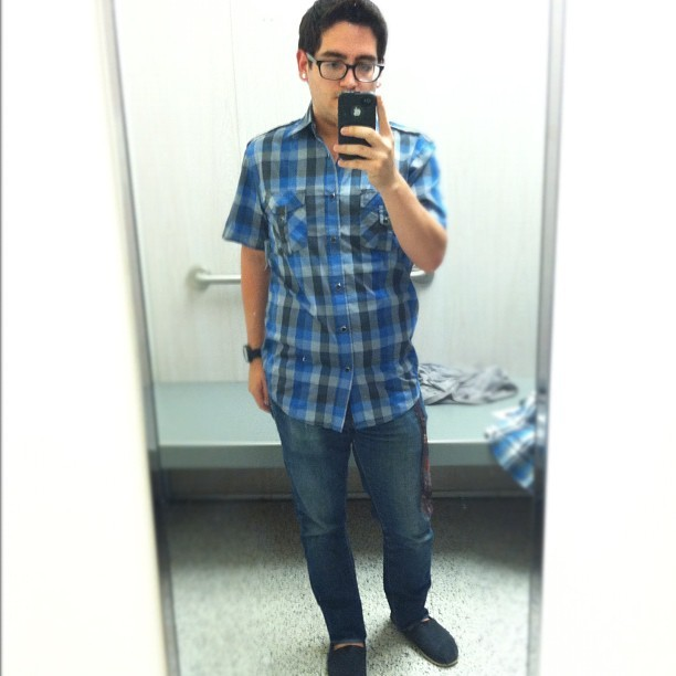 What I REALLY ended up wearing last night. #gay #gayboy #fashion #plaid #buttonup #dressy #toms #levis #coastal #jeans #instagram #selfportrait #self #me #portrait #português #portuguese #mirror #reflection  (Taken with Instagram)