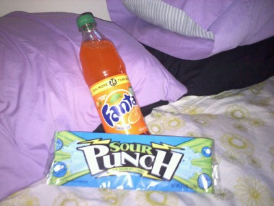 Orange Soda ;) candy and watching elf. Trying to get Kris to come over and watch it with me.