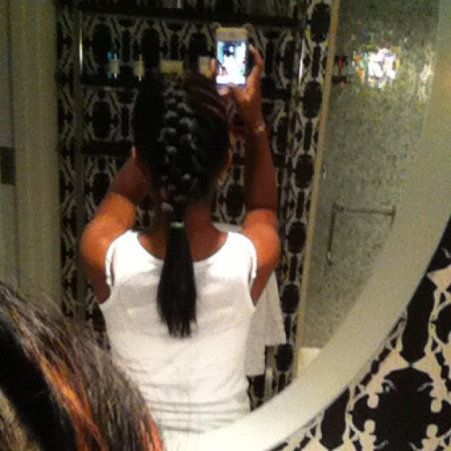 My mom braided my hair for the day :D :) x] (Taken with Instagram)