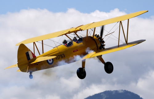 Aviation Adventure 7/28/12: Concrete Fly In Stearman Model 75 taking off during the Concrete Fly In 2012. Always love going to this little FlyIn. Beautiful scenery, lots of vintage General Aviation airplanes, can get RIGHT up to them even then they're operating, and great people. Also there's usually great food too *drools over BBQ beef sandwich lol*