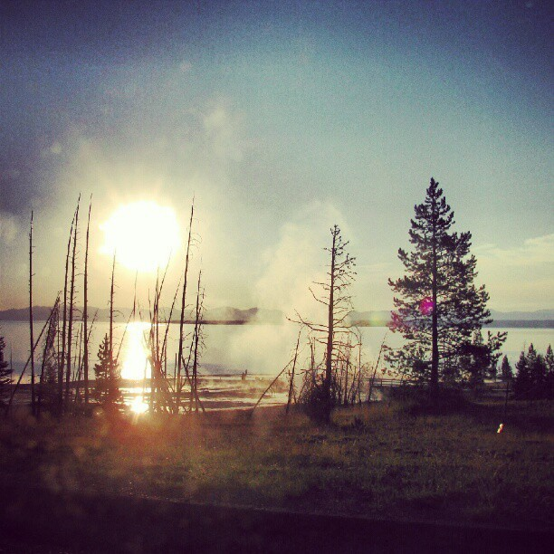 Geysers as sunrise #Yellowstone (Taken with Instagram)