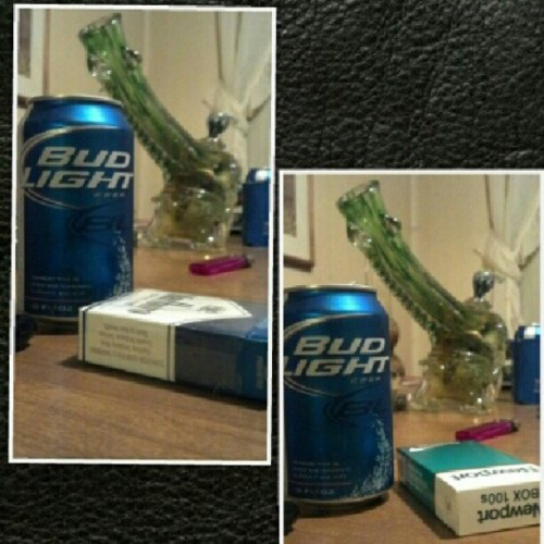 Which do you perfer? #newports #bong #budlight or #Marlboro #skylines #youdecide (Taken with Instagram)