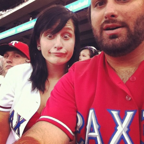Someone is silly. @kimmiesomesugar #rangers #angels  (Taken with Instagram at Rangers Ballpark in Arlington)