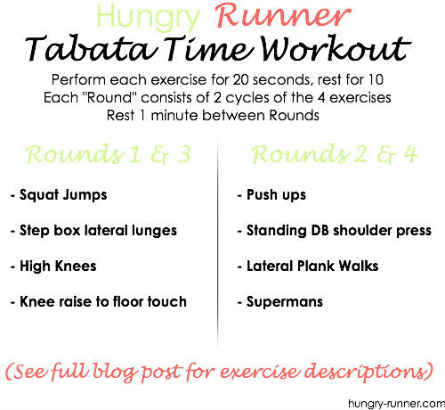 Tabata Workout Tabata, tabata, tabata!! I LOVE tabata! Really, what kind of workout could be better than a total body strength and cardio-conditioning routine that gets your heart rate up right away, burns a butt-load of calories, and makes you feel like a beast? Uhhh.. I can't think of any.  So basically, next time you're ready to sweat it up, you should do this workout. Don't even think twice. Just do it.  Warm up with a 2-3 minute light jog and the whole thing should take you about 20-25 minutes. Ready annnnnd… GO! Exercise descriptions: Squat Jumps Step Box Lateral Lunges (Make this move explosive & continuous. From the lunge, you are jumping back onto the step and then lunging to the other side right away.) High Knees Knee Raise to Floor Touch (Get low and touch the floor with your hands on the back lunge!) Push ups Standing Dumbbell Shoulder Press Lateral Plank Walks Supermans