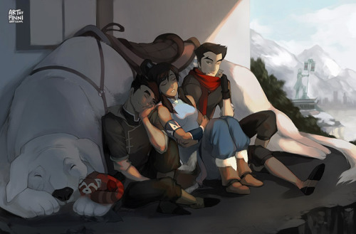 Legend of Korra — A Quiet Afternoon by *finni Here's my little tribute piece to The Legend of Korra, which just finished airing its first season not too long ago~ I wanted to draw something that was not action-pose-bending-awesome-dynamic and instead create something a little more soft. Hope you guys like the finished product! Special thanks to Bing for her help critiquing my painting as I worked on it. <3