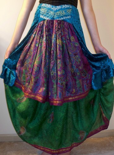 Gypsy Double Skirt Upcycled Sari Green Raspberry Blue Velvet Boho Chic