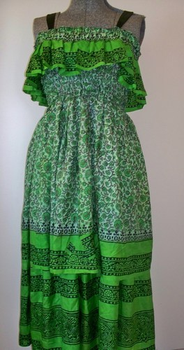 Upcycled Sari Silk Sundress Custom Order Green Ruffled Double Skirt