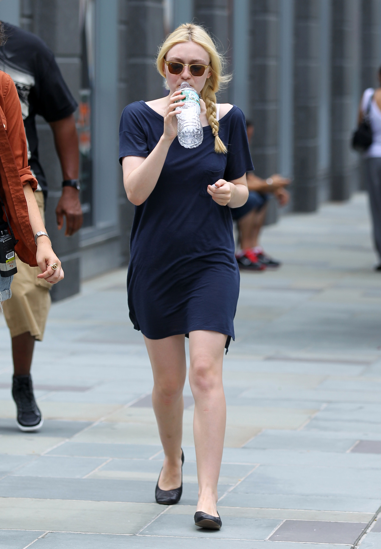 Dakota Fanning on the set of Very Good Girls in NYC, July 31st