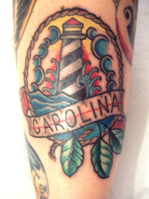 Another traditional piece done by Larry Slaton at Cardinal Rose Tattoo Gallery in Asheboro, NC.He was working on a flash sheet for the shop when I saw him painting this piece and knew I had to have it.