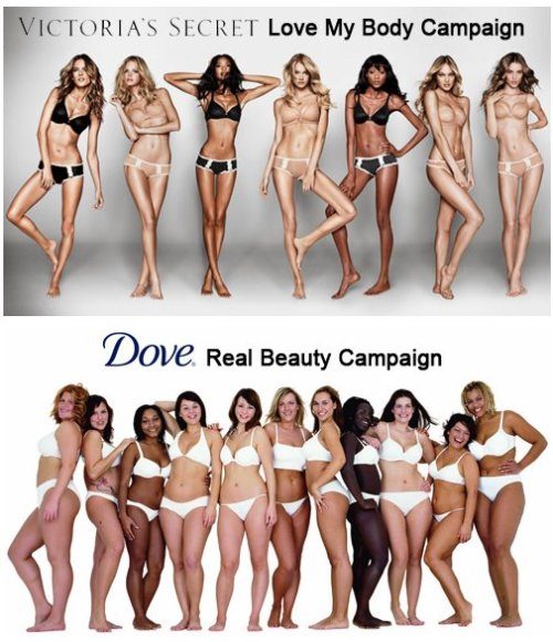 "think-progress:  Victoria's Secret vs. Dove.  (Dove has had a bunch of pretty awesome campaigns) image via  It's not that Dove's campaign is inspiring, but that Victoria's Secret's is so soul-crushingly awful, displaying the kind of corporate disingenuousness that should earn its execs a one-way ticket to hell. It's a matter of degree. Both are big companies using ""empowerment"" to sell crap to consumers for the benefit of their shareholders. The real difference between these two images is their target audience. As VS's televised ""fashion shows"" make clear, the tacky-underwear purveyor's primary audience is men. Dove's plain-Jane soap's is women. Both traffic in fantasies. VS's is sexually available supermodels. The twist in this particular ad campaign is that the fantasy supermodels are ""real"" women and thus purportedly that much more accessible (or something). Dove is selling the fantasy that women are ok just the way they are, something the ENTIRE HISTORY OF ADVERTISING totally refutes. Six of one, half a dozen of the other!"