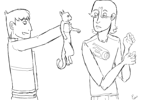 Browse Motorcity tag, remember Chuck has a phobia of kittens (apparently), doodle a thing. First time drawin' em. I think I'll continue. =)