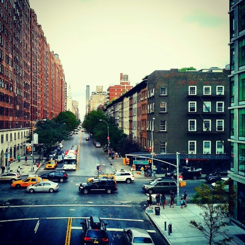 NYC street from the High Line park (Instagram filter)