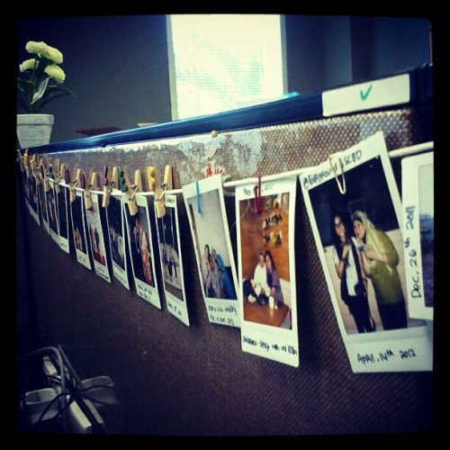 Hanging picturea #polaroid #photos #office  (Taken with Instagram)