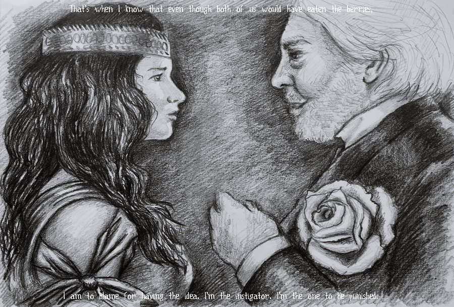 Katniss Everdeen and President Snow by ~ValeriaMur This is amazing.